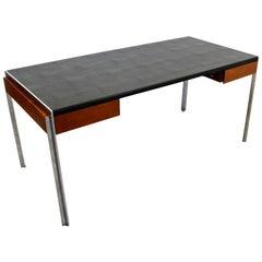 Mid-Century Modern Alexis Yermakov Leather Top Executive Desk Rosewood Steel