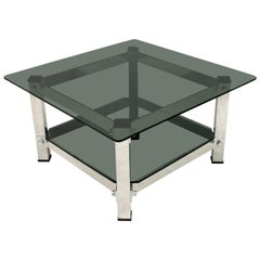Mid-Century Modern Aluminum and Glass Coffee Table, 1970