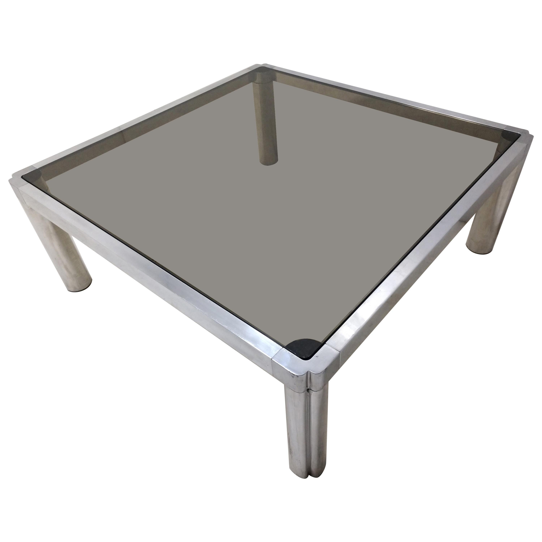 Mid-Century Modern Aluminum Smoked Glass Cocktail Table John Mascheroni