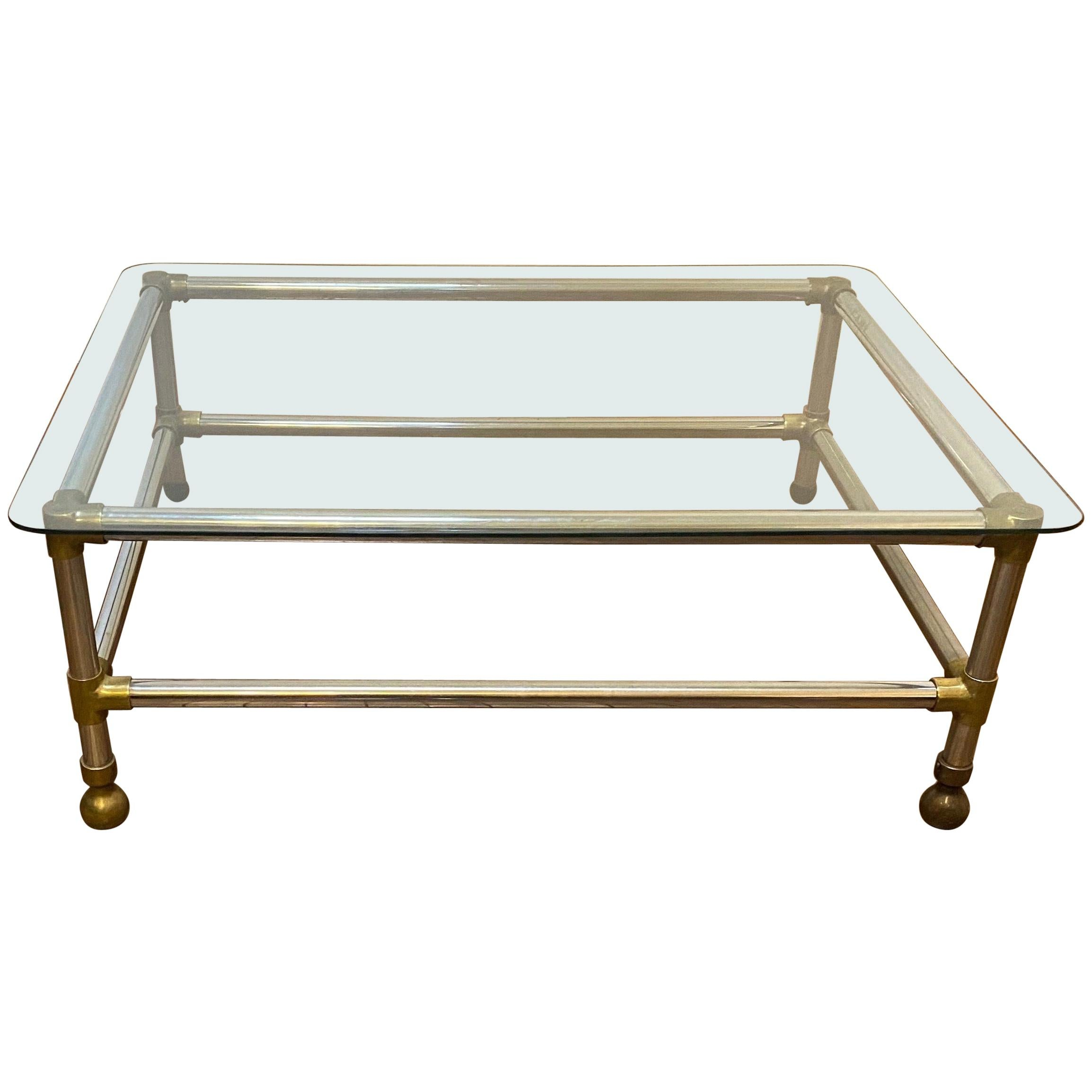Midcentury/Modern Aluminum, Brass and Glass Coffee Table