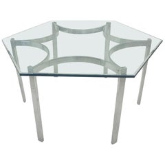 Mid-Century Modern Aluminum Dining Table with Hexagonal Glass Top