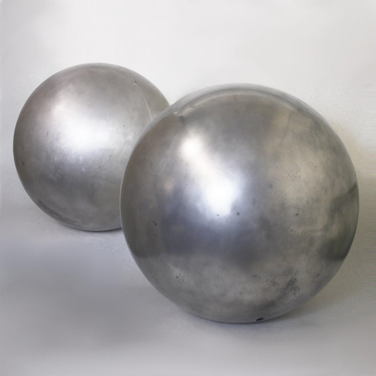 Large vintage cast-aluminum architectural landscape Sphere. Sphere is constructed of two 7/16