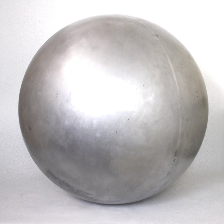 Industrial Mid-Century Modern Aluminum Landscape Garden Orb Sphere Ball Sculpture For Sale