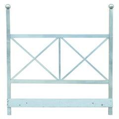 Mid-Century Modern Aluminum Metal Queen Size Bed Headboard Finial Post X-Frame
