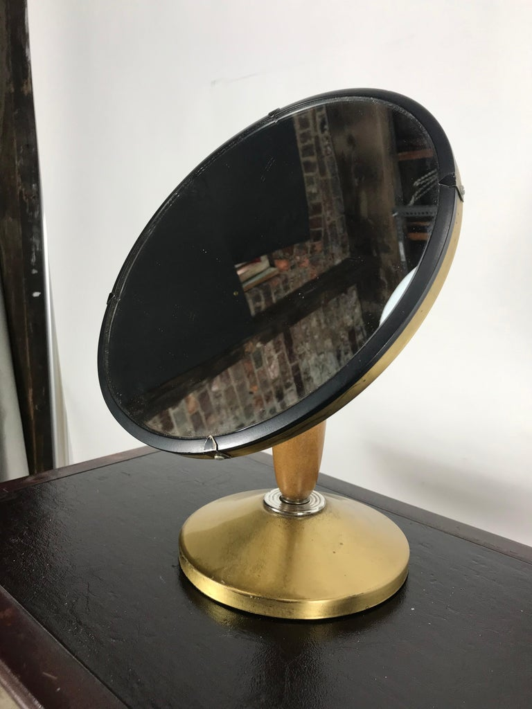 Mid-Century Modern Aluminum Stylized Jeweler's Counter Mirror In Good Condition For Sale In Buffalo, NY