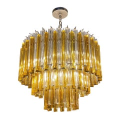 Mid-Century Modern Amber & Clear Venini Glass Prism 3 Tiered Chandelier