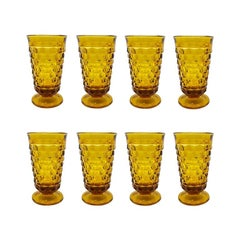 Mid-Century Modern Amber Glass Drinking Glasses in Whitehall Pattern, Set of 8