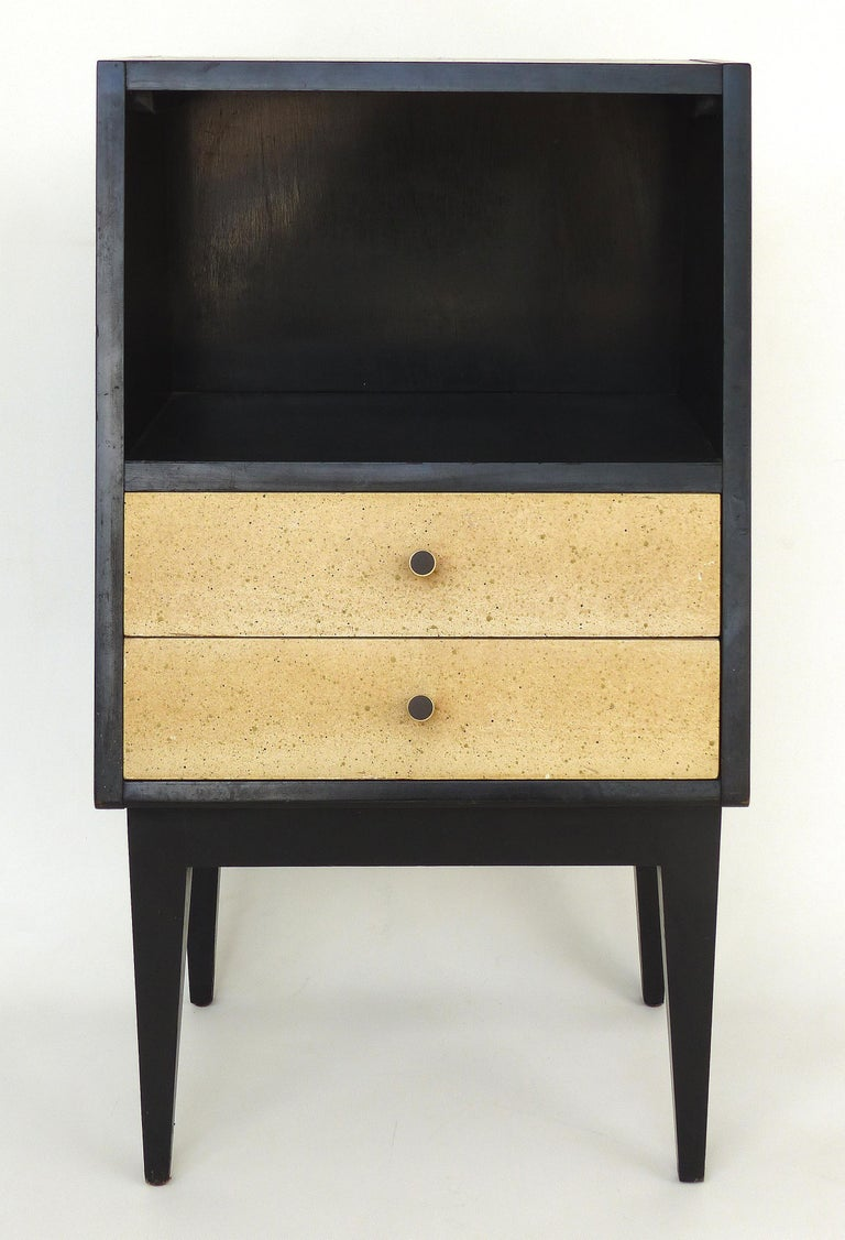 American of Martinsville Mid-century Modern Telephone Stand with two drawers  Offered for sale is a sleek mid-century modern American of Martinsville telephone table with an ebonized finish, two drawers with a speckled finish, brass hardware and an