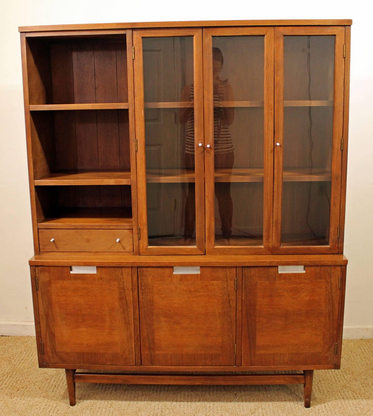 This Is A Walnut China Cabinet With Two Gl Doors And Shelving On Top Three