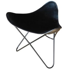 Mid-Century Modern American Saddle Leather and Iron Stool/Ottoman, 1960s