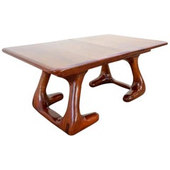Mid-Century Modern American Studio Craft Wood Dining Table Wendell Castle Style