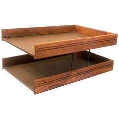 Mid-Century Modern American Walnut Modernist Paper Desk Tray