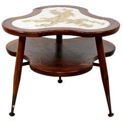 Mid-Century Modern Amoeba Shaped 2 Tier Mosaic Tile Coffee Side Table, 1960s