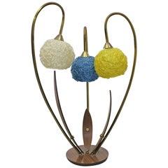 Mid-Century Modern Amorphous Walnut Brass Flower Spaghetti 3-Way Table Lamp