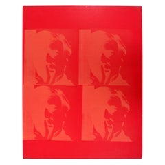 Mid-Century Modern Andy Warhol Signed Twice Framed Student Work Red Portrait