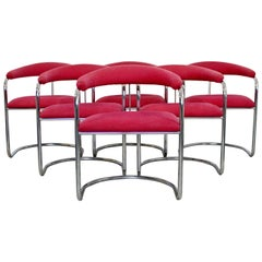 Mid-Century Modern Anton Lorenz Thonet Set of 6 Barrel Chrome Dining Chairs