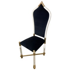 Antonio Pavia Lucite Frame Chrome Accents with New Blue Velvet High Back Chair