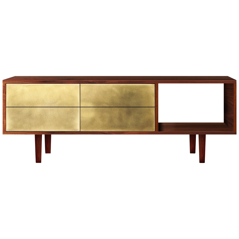 Mid-Century Modern Apollo Media Console in Walnut, Black, Copper or Brass