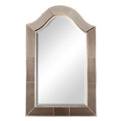 Mid-Century Modern Arch Form White Gilt Frame Beveled and Inset Mirror