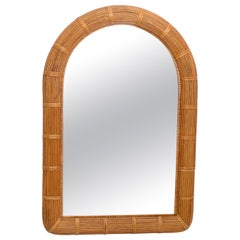 Mid-Century Modern Arch Handwoven Pencil Reed & Wicker Wall Mirror Bohemian Chic
