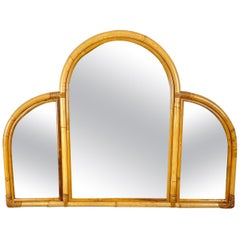 Mid-Century Modern Arched Bamboo Wall Mirror Italy