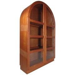 Mid-Century Modern Arched Top Danish Teak Display Cabinet