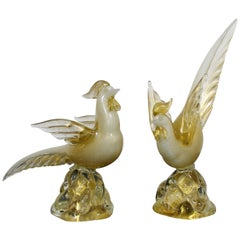 Mid-Century Modern Archimede Seguso Pair of Gold Leaf Glass Cocks Birds Murano
