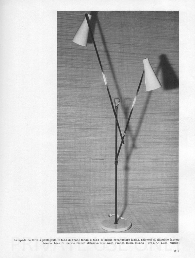 Mid-Century Modern Architectural Floor Lamp by Franco Buzzi for O-Luce, Italy For Sale 2
