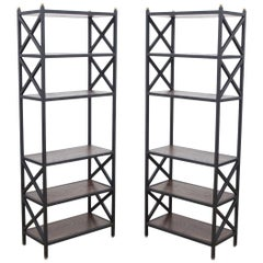 Mid-Century Modern Architectural X-Form Bookcases or Étagères, Pair Available