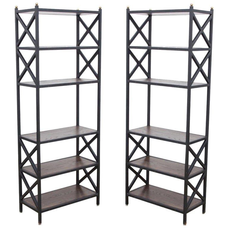 Mid-Century Modern Architectural X-Form Bookcases or Étagères, Pair Available For Sale