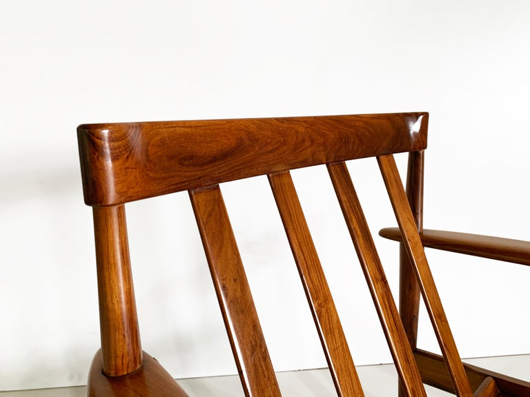 Brazilian Mid-Century Modern Armchair by Grete Jalk Made in Solid Caviuna Wood