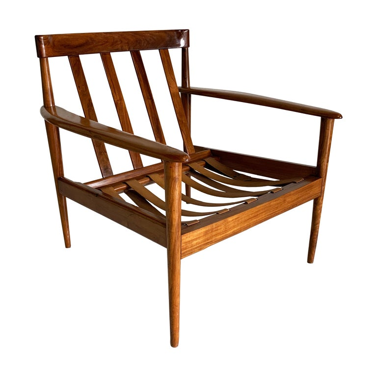 Mid-Century Modern Armchair by Grete Jalk Made in Solid Caviuna Wood