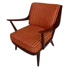 Mid-Century Modern Armchair by Knoll Antimott Cushions Orange Tones Stripes