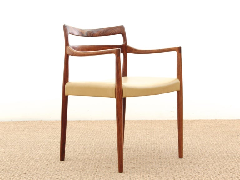 Mid-Century Modern armchair in rosewood by Kai Lyngfeldt for Søren Willadsen. New leather seat.
