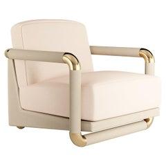 21th Century Mid-Century Modern Armchair in White Velvet & Golden Details