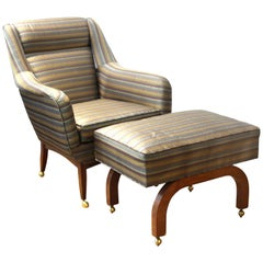 Mid-Century Modern Armchair with Foot Stool on Casters