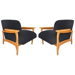 Knoll Boucle Fabric Mid-Century Modern Armchairs Restored & Reupholstered