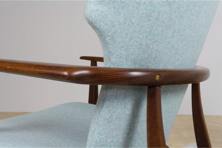 Mid-20th Century Mid-Century Modern Armchairs Teak and Blue Felt by Aksel Bender Madsen For Sale