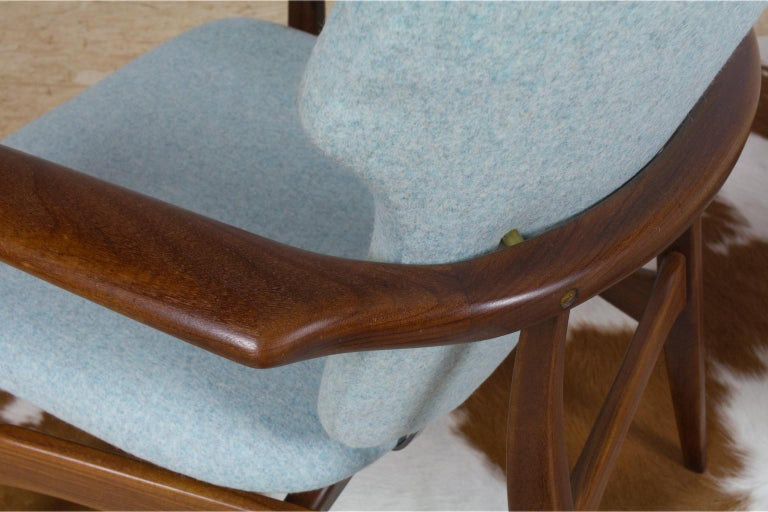 Mid-Century Modern Armchairs Teak and Blue Felt by Aksel Bender Madsen For Sale 1