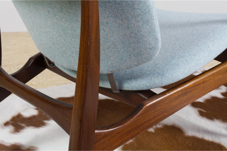 Mid-Century Modern Armchairs Teak and Blue Felt by Aksel Bender Madsen For Sale 2