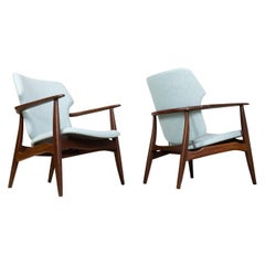 Mid-Century Modern Armchairs Teak and Blue Felt by Aksel Bender Madsen