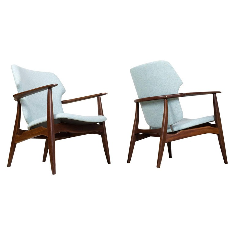 Mid-Century Modern Armchairs Teak and Blue Felt by Aksel Bender Madsen For Sale