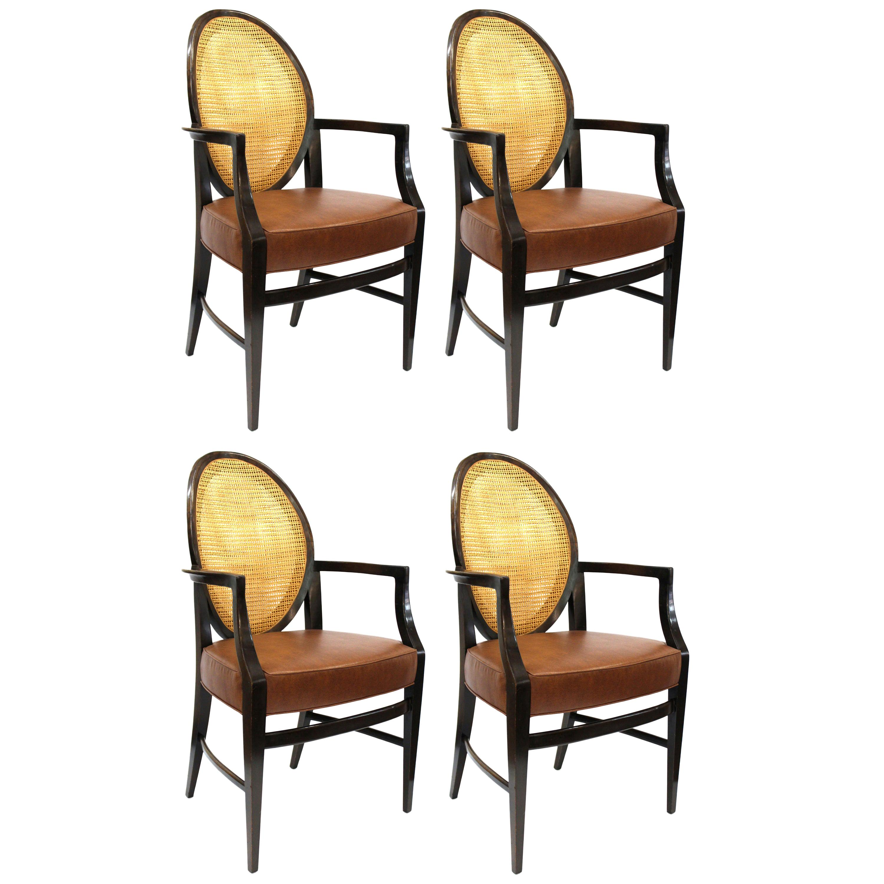 Mid-Century Modern Armchairs with Caned Backs Seat Attributed to Harvey Probber
