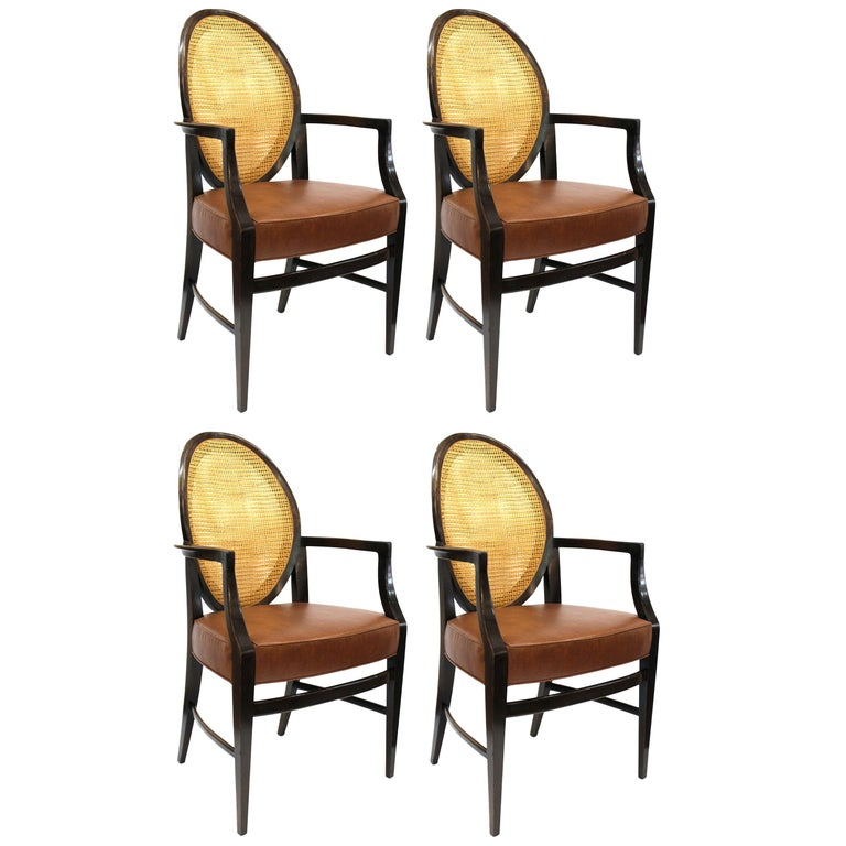 Mid-Century Modern Armchairs with Caned Backs Seat Attributed to Harvey Probber  For Sale