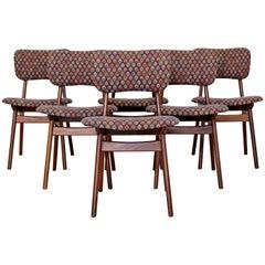 Mid-Century Modern Arne Hovmand Olsen Danish Teak Set 6 Side Dining Chairs