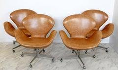 Mid Century Modern Arne Jacobsen Fritz Hansen Set 4 Leather Swivel Swan Chairs
