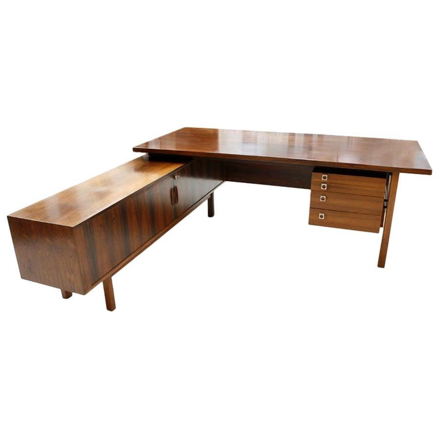 Mid-Century Modern Arne Vodder Rosewood L-Shape Danish Executive Desk