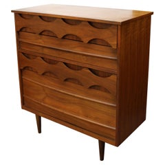 Mid-Century Modern Arne Vodder Style Danish 4 Drawer Highboy Dresser, 1960s
