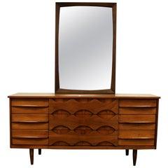 Mid-Century Modern Arne Vodder Style Danish 9 Drawer Credenza Dresser Mirror