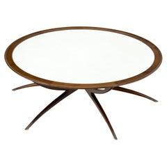 Mid-Century Modern Around Walnut Spider Base Coffee Table w/ White Glass Top